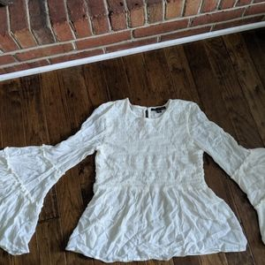 White Flowy Long sleeve Top